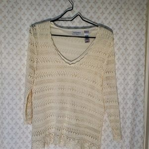 Long sleeve knit sweater with crocheted lace - C2